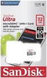 Sandisk Ultra microSDHC 32 GB 80 MB/s Class 10 UHS-I